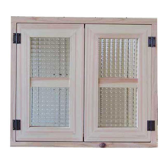 室内窓 採光窓 チェッカーガラス 無塗装白木 木製 ひのき 45×40cm扉厚み3cm マグネット仕様 オーダーメイド 1354963