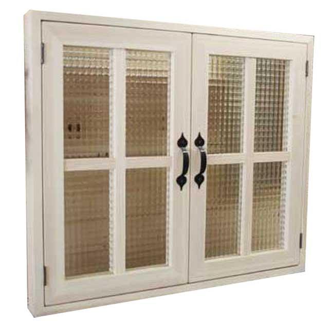 室内窓 採光窓 木製 ひのき チェッカーガラス 無塗装白木 70×60cm・厚み3cm マグネット仕様 両面桟・取っ手つき 北欧 オーダーメイド 1327933