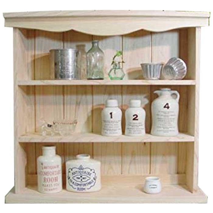 スパイスラック 木製 ひのき 三段ラック コレクションスタンド 50×14×48cm 飾り枠収納棚 無塗装白木 オーダーメイド