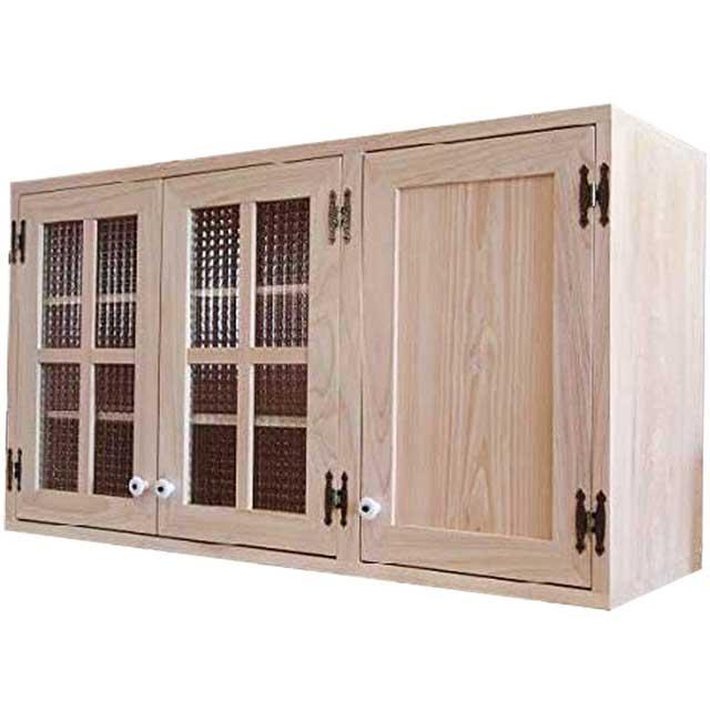 吊り戸棚 チェッカーガラス 木製 ひのき 桟入り 木製扉 無塗装白木 壁掛けキャビネット 北欧 受注製作