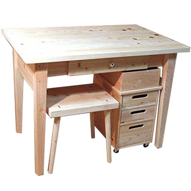 学習机 3点セット 無塗装白木 w98d62h71cm 学習机&ワゴン&スツール 北欧 木製 ひのき オーダーメイド