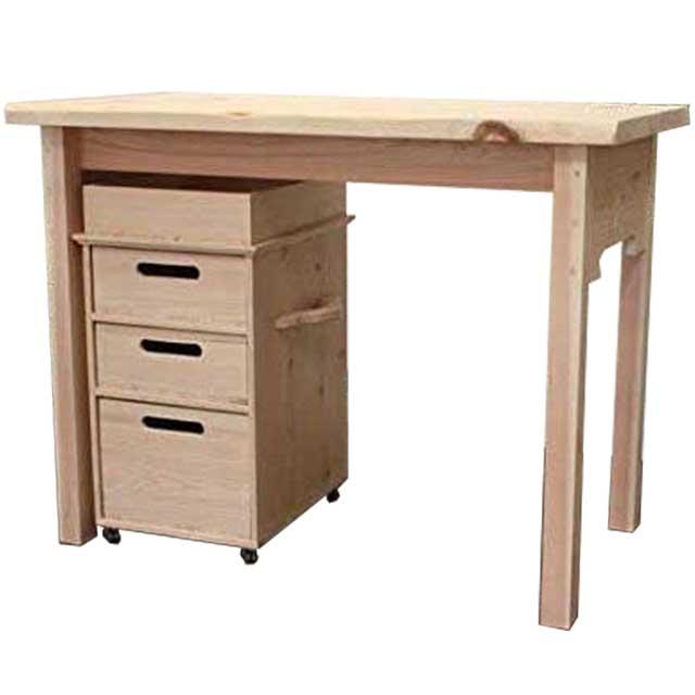 テーブル&インサイドワゴン 木製 ひのき 無塗装白木 自然木 アンティーク風 テーブル高さ72cm 受注製作