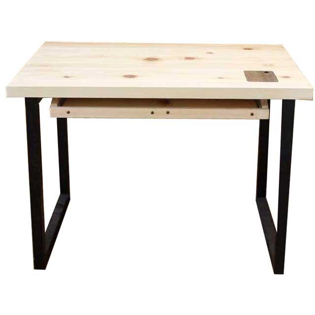 オフィステーブル アイアンレッグ 無塗装白木 w98d66h70cm スライドテーブル付き 組み立て式 木製 ひのき ハンドメイド オーダーメイド