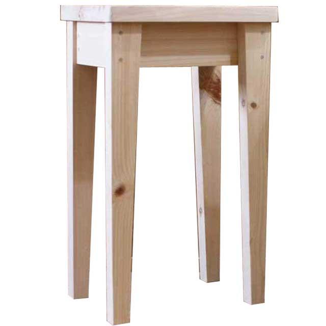 角スツール 貫なしタイプ 無塗装白木 w36d25h60cm 木製 ひのき オーダーメイド