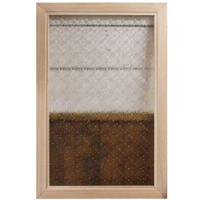 ガラスフレーム 木製 ひのき フローラガラス 片面仕様 ガラス窓 室内窓 60×2×40センチ 北欧 無塗装白木 オーダーメイド 1327933