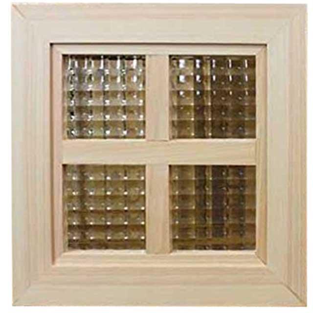 ガラスフレーム 木製 ひのき チェッカーガラス 太枠両面桟入りガラス窓 25×2.5×25cm 北欧(無塗装白木) オーダーメイド 1327933