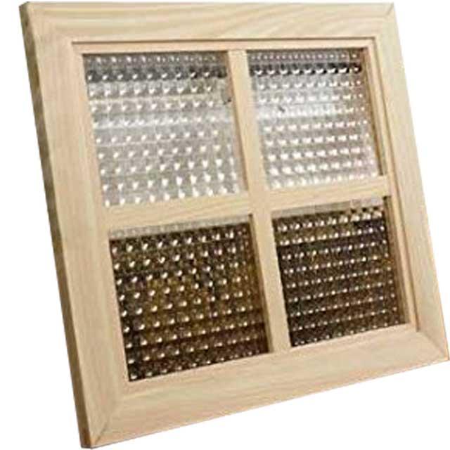 ガラスフレーム 木製 ひのき チェッカーガラス 片面十字桟入りガラス窓 40×35cm 北欧(無塗装白木) オーダーメイド 1327933