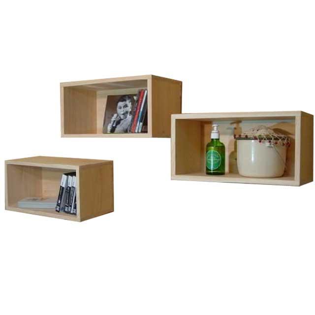 ディスプレイボックス 三個組 無塗装白木 w33d17h17cm 壁掛け CDラックにも オーダーメイド
