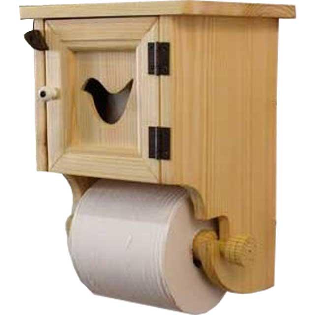 トイレットペーパーホルダー 小鳥のくり抜き 無塗装白木 w19d17h27cm ストックボックス付 木製 ひのき オーダーメイド