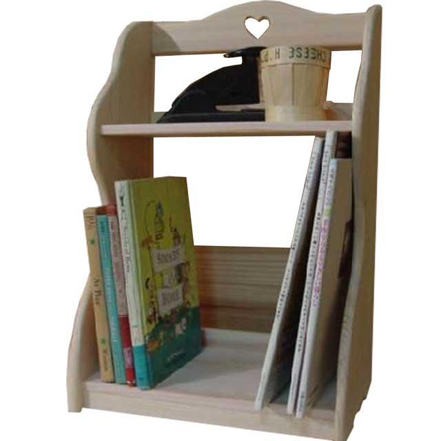 ブックスタンド 二段本棚 無塗装白木 w33d22h50cm ハート 木製 ひのき オーダーメイド