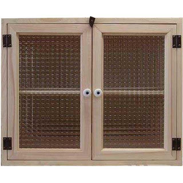 無塗装白木 チェッカーガラスのキャビネット(55×30×45cm)(ニッチ用埋め込みタイプ) オーダーメイド