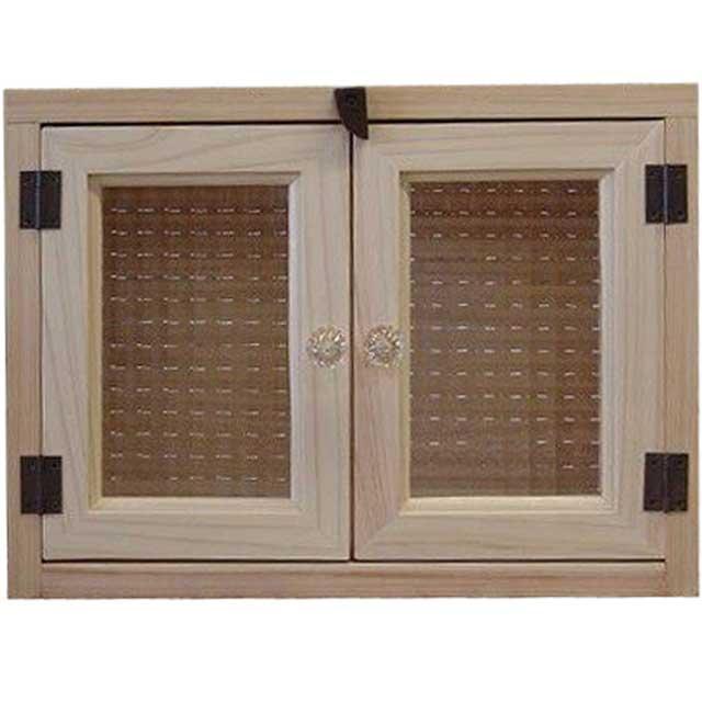 無塗装白木 チェッカーガラスのキャビネット(ニッチ用埋め込みタイプ)裏板・パンプキンノブ仕様 北欧 オーダーメイド