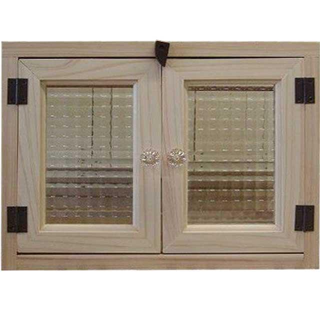 無塗装白木 フランス製チェッカーガラスのキャビネット(36×10×28cm・ニッチ用埋め込みタイプ)パンプキンノブ・開閉クリット仕様 北欧 受注製作
