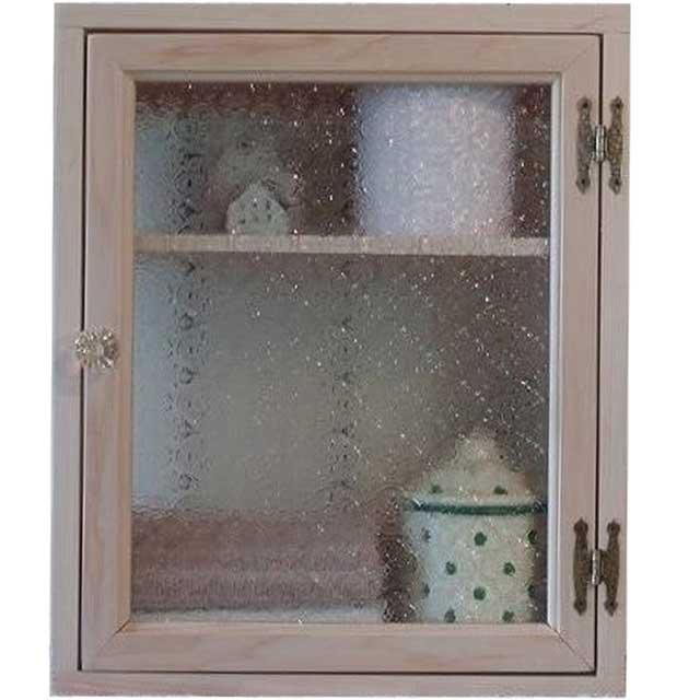 無塗装白木 フローラガラスのニッチ用キャビネット パンプキンノブ・真鍮兆番 オーダーメイド