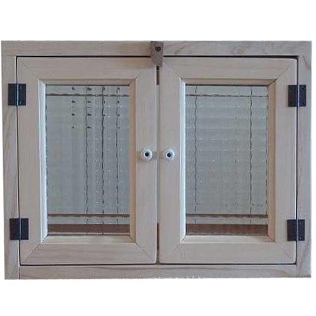 無塗装白木 チェッカーガラスのキャビネット(ニッチ用埋め込みタイプ)開閉クリット仕様 オーダーメイド