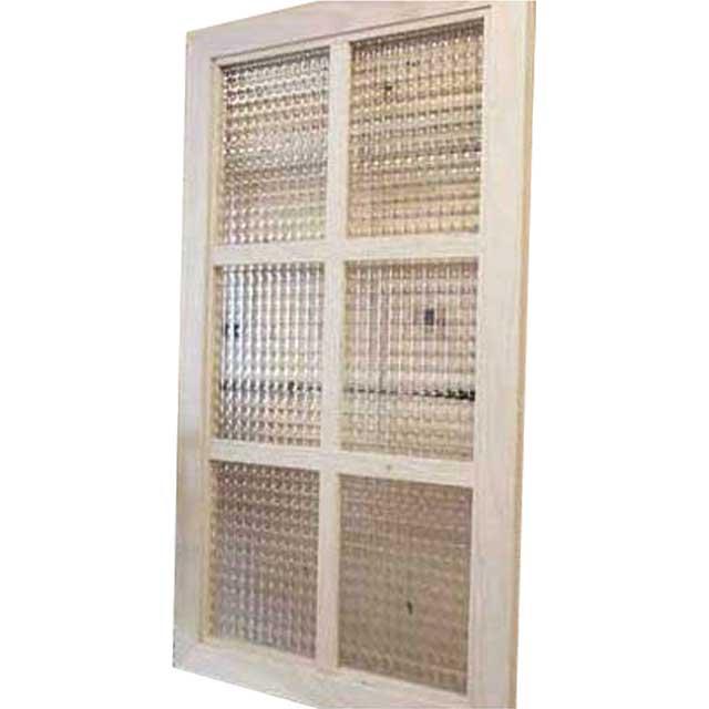 ガラスフレーム 木製 ひのき チェッカーガラス 片面仕様桟入り 40×70cm・厚み2cm 北欧(無塗装白木) オーダーメイド 1327933