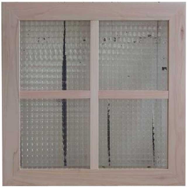 ガラスフレーム 木製 ひのき チェッカーガラス 両面仕様桟入り 45×45cm・厚み2.5cm 北欧(無塗装白木) オーダーメイド 1327933