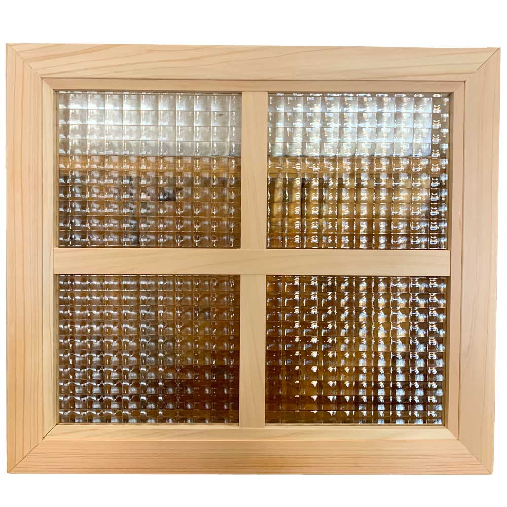 室内窓 無塗装白木 チェッカーガラス 片面桟入り 40x2x35 cm 木製 ひのき ハンドメイド オーダーメイド 1327933