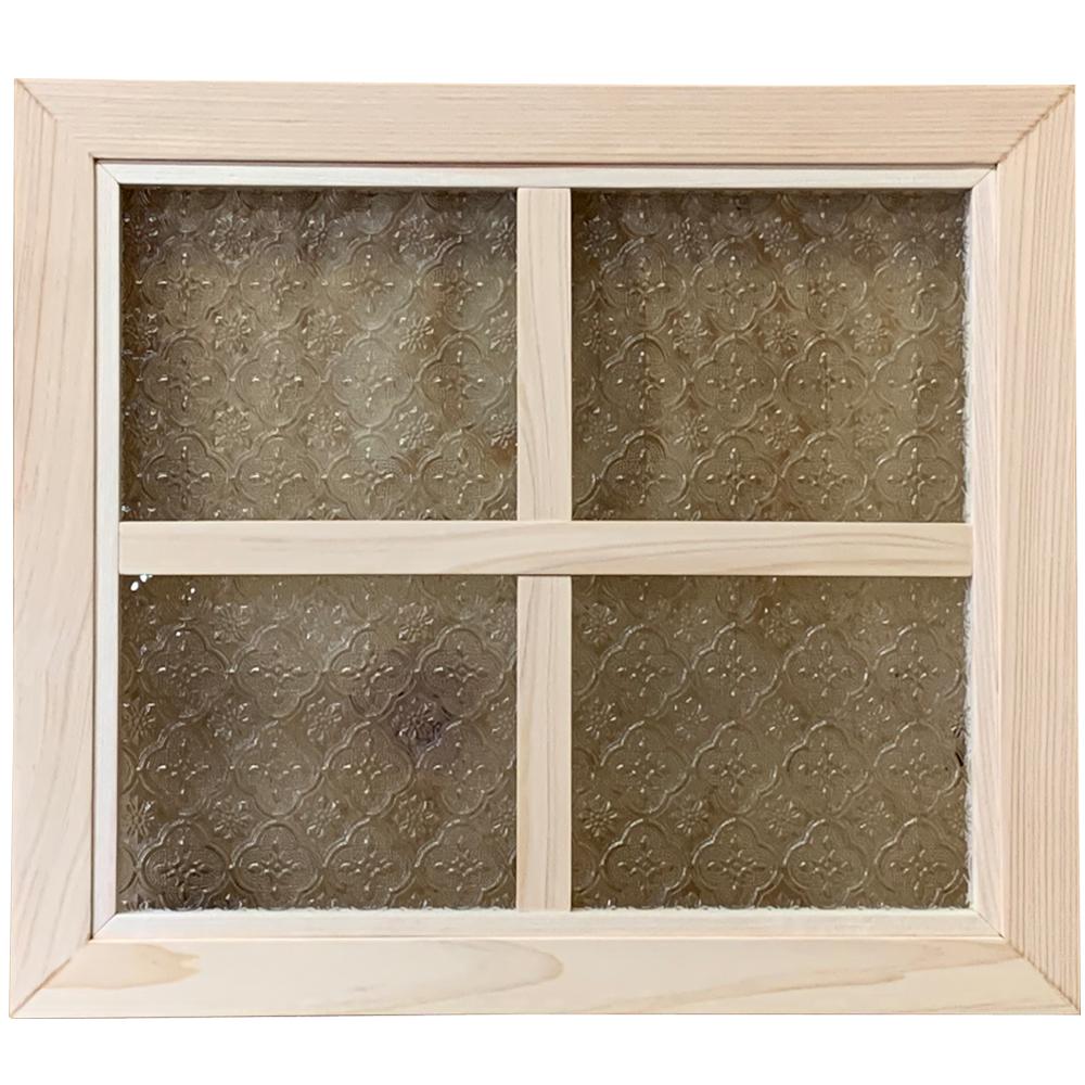 ガラスフレーム フローラガラス 片面十字桟入り ガラス窓 40×2×35cm 無塗装白木 木製 ひのき ハンドメイド オーダーメイド 1327933