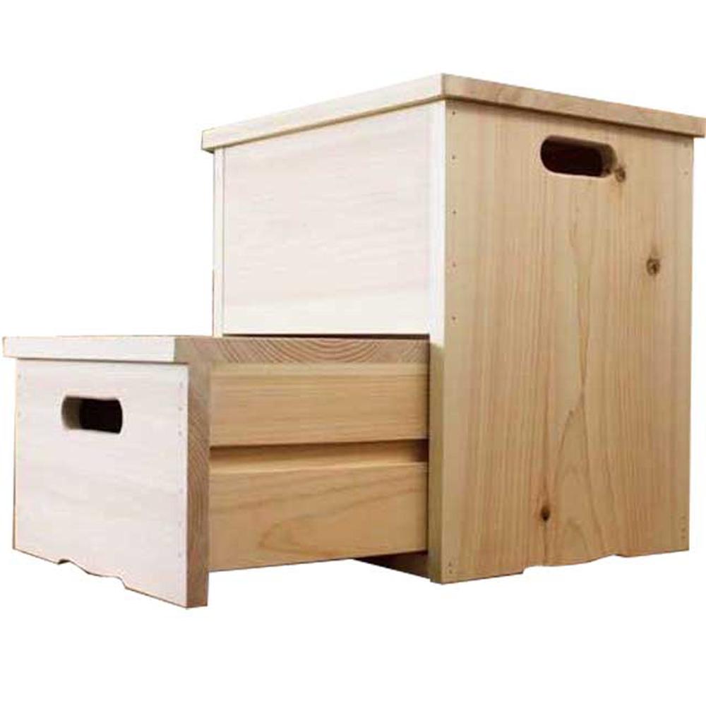 踏み台 引き出し式 35×31.5×37.5cm 無塗装白木 木製 ひのき ハンドメイド オーダーメイド 1327933