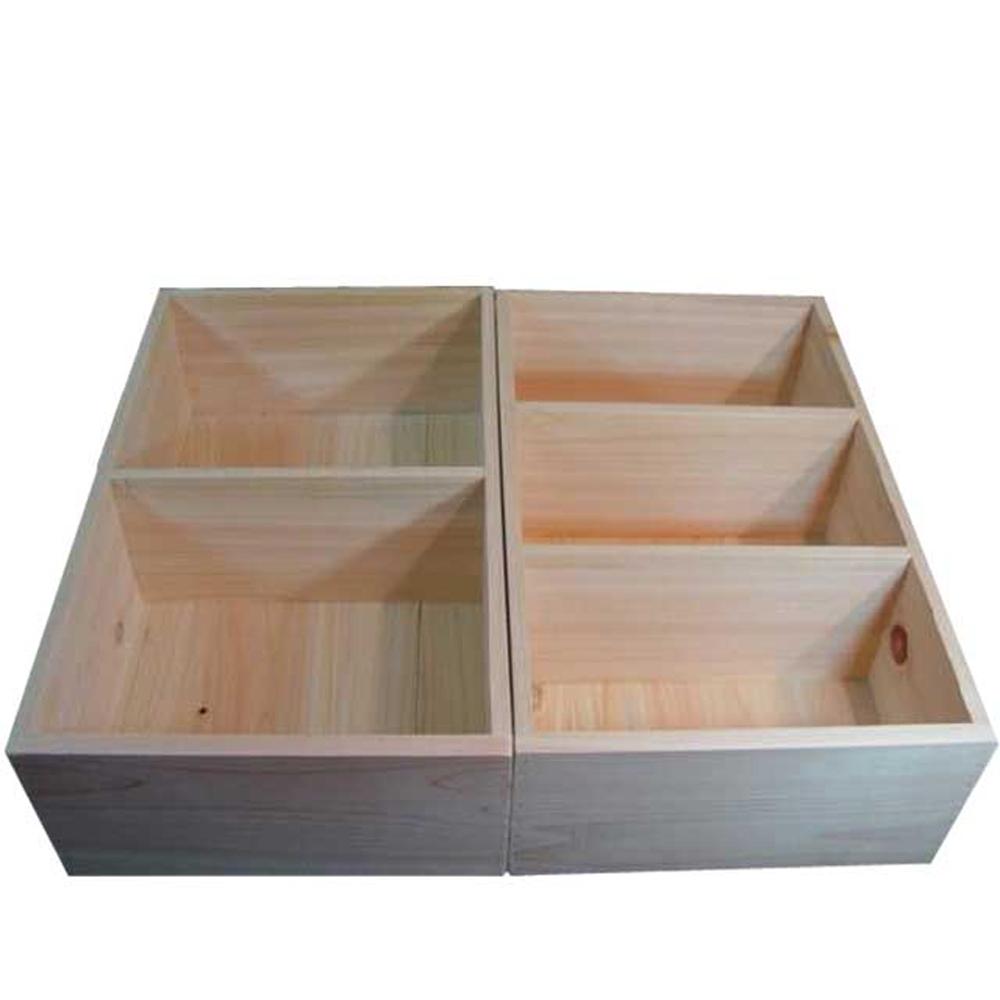 木箱 収納箱 ウッドボックス 2個セット 仕切り箱 30.5×50×15cm 無塗装白木 木製 ひのき ハンドメイド オーダーメイド
