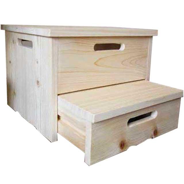 踏み台 引き出し式 ステップ 40×35×28cm 無塗装白木 木製 ひのき ハンドメイド オーダーメイド 1327933