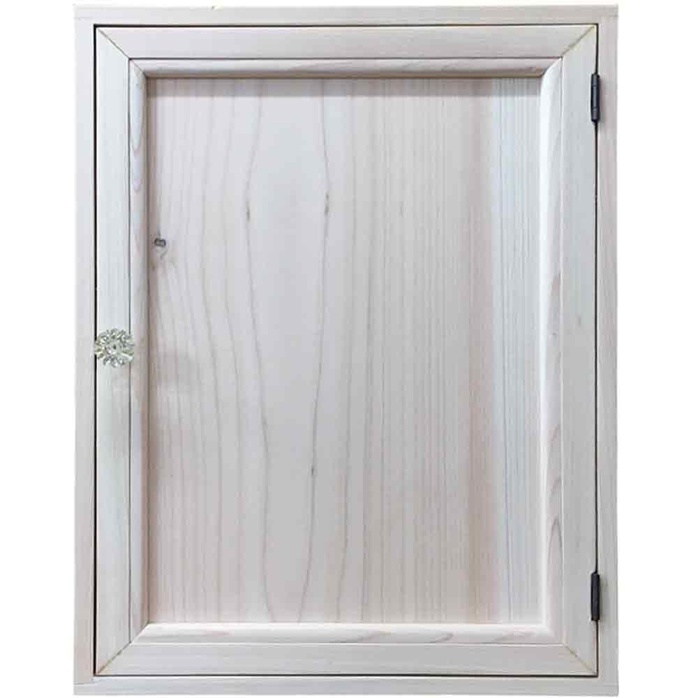 キーボックス 木製扉 30×7×40cm 無塗装白木 パンプキンノブ アイアンフック ニッチ用 木製 ひのき ハンドメイド オーダーメイド 1361898