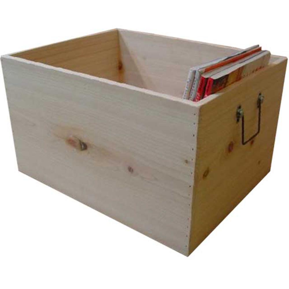 ウッドボックス 木箱 カントリー 収納箱 無塗装白木 45×35×24cm 木製 ひのき ハンドメイド オーダーメイド