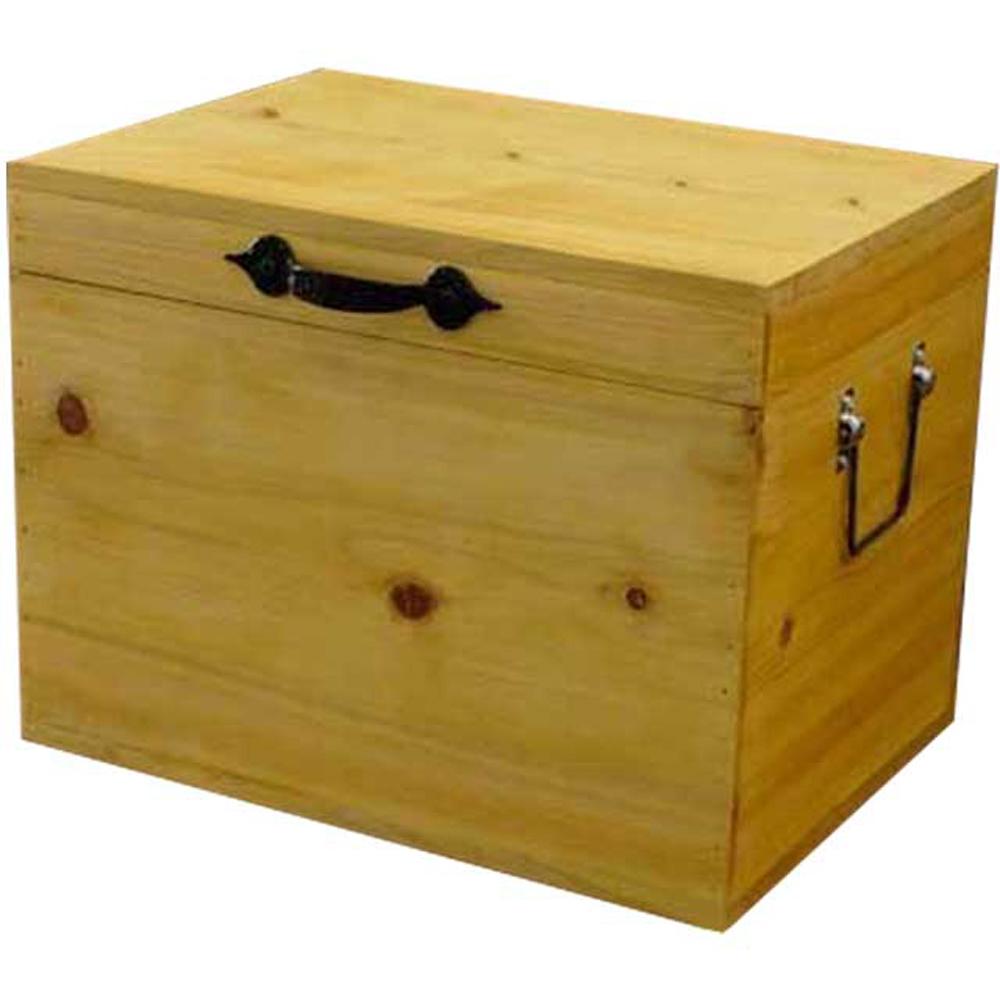 カントリーボックス ふた付き収納箱 アイアン 35×25×27cm ナチュラル 木製 ひのき ハンドメイド オーダーメイド