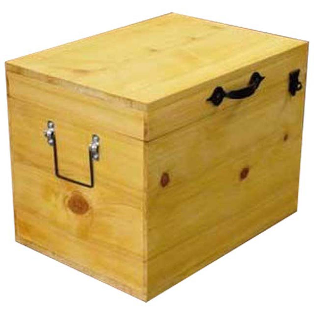 ウッドボックス 掛け金つき 収納箱 蓋つき 35×25×27cm ナチュラル 木製 ひのき ハンドメイド オーダーメイド