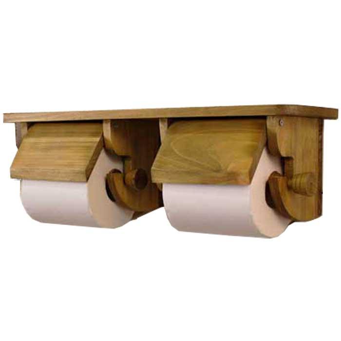 トイレットペーパーホルダー 2個取り付けタイプ アンティークブラウン w42d12.5h14.5cm 押さえカバーつき 木製 ひのき オーダーメイド 1361898