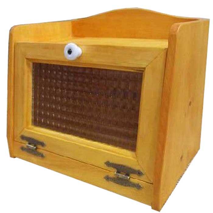 ブレッドケース 木製 ひのき フランス製チェッカーガラス扉 ミディアムサイズ 30×21×26cm キッチン収納 ナチュラル 受注製作