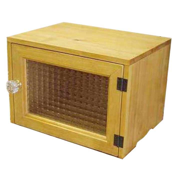 ブレッドケース 木製 ひのき フランス製チェッカーガラス 横型ブレッドケース フードストッカー ナチュラル 受注製作