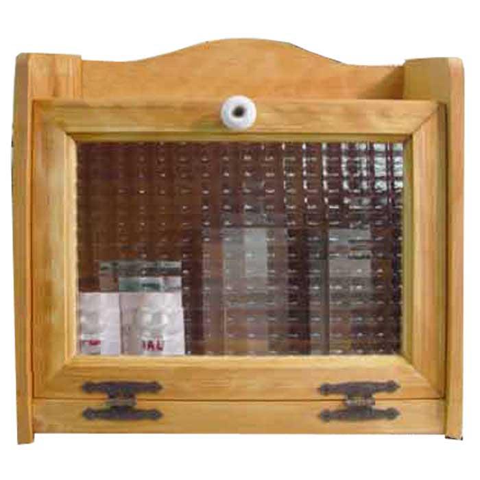 ブレッドケース 木製 ひのき チェッカーガラス扉 35cm×25cm×32cm ナチュラル 受注製作