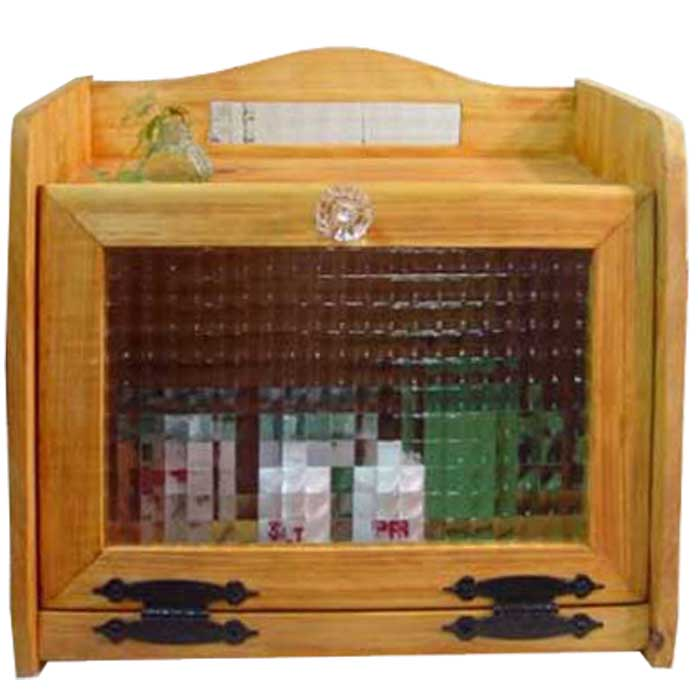 ブレッドケース 木製 ひのき チェッカーガラス扉 背板ガラス入り 35×25×32cm ナチュラル 受注製作