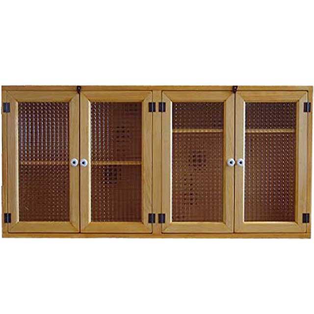 吊戸棚 チェッカーガラス扉 ナチュラル w106d22h50cm 横型 吊り戸棚 ウォールキャビネット 木製 ひのき オーダーメイド