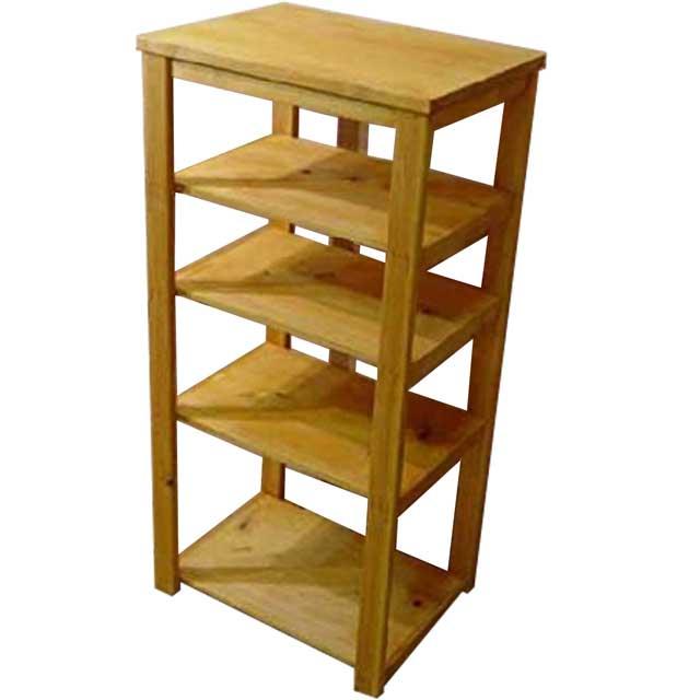 四段ラック 飾り棚 ナチュラル w45d32.5h92cm ウッドラック ディスプレイラック 木製 ひのき オーダーメイド