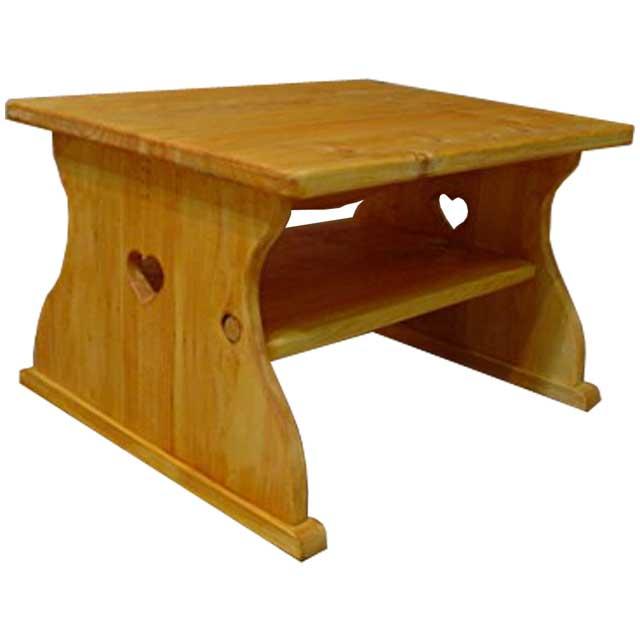テーブル ハートくり抜き ナチュラル w50d40h30cm 棚つき 木製 ひのき オーダーメイド