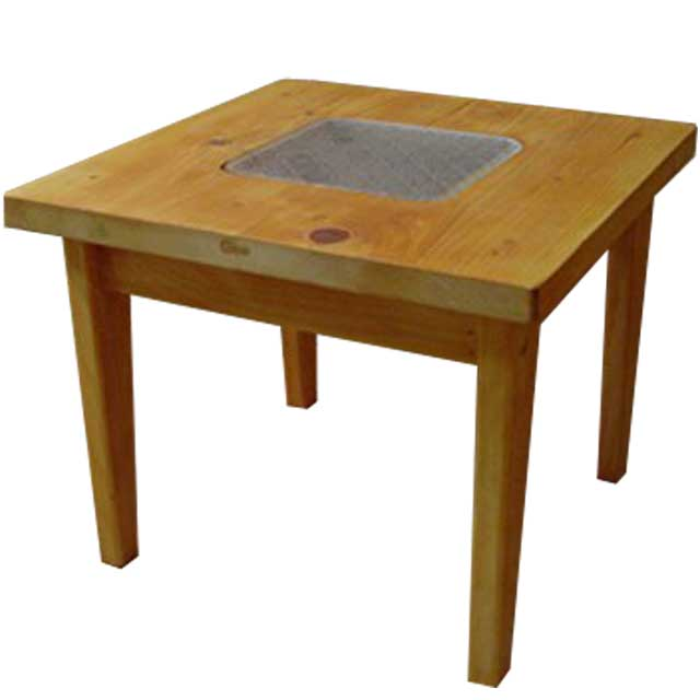 テーブル フローラガラス ナチュラル w45d45h37cm 正方形ミニテーブル 木製 ひのき オーダーメイド