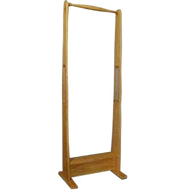 ハンガーラック ナチュラル w50d33h140cm チェッカーガラス 木製 ひのき オーダーメイド