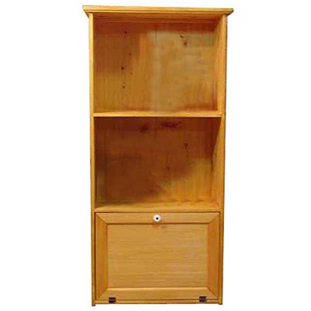 三段ラック 木製扉 ナチュラル w52d28h106cm 背板つき キャビネット 木製 ひのき オーダーメイド