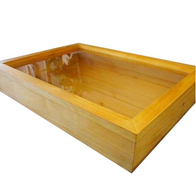 コレクションケース 透明ガラス ナチュラル w50d36h9cm つまみなし 木製 ひのき オーダーメイド