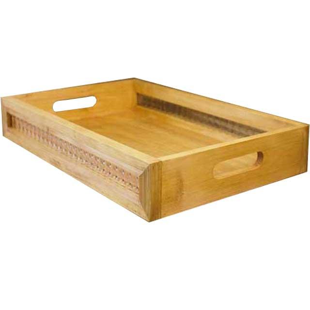 トレイ チェッカーガラス ナチュラル w45d30h7.5cm トレー BOX型 おぼん 国産ひのき 木製 オーダーメイド
