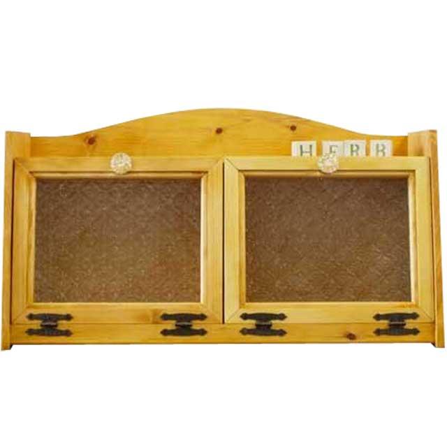 ブレッドケース フローラガラス扉 w60d25h32cm ナチュラル ダブルブレッドケース パンプキンノブ 側板フローラガラス入り 木製 ひのき オーダーメイド 1354963