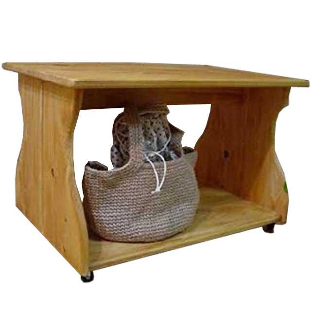 テーブル キャスターつき ナチュラル w67d42h42cm 幅広タイプ 木製 ひのき オーダーメイド