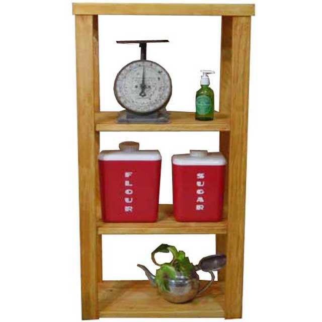 三段ラック 飾り棚 ナチュラル w45d24h84cm 背板なし 木製 ひのき オーダーメイド
