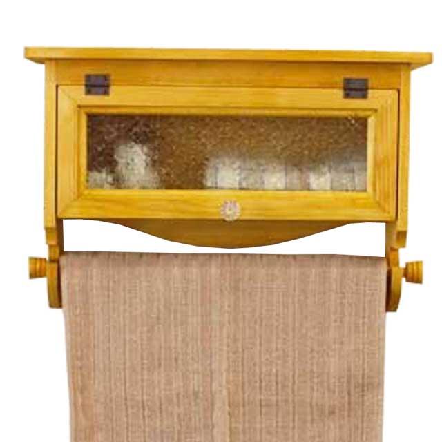 サニタリーストッカー 木製 ひのき フローラガラス扉 フェイスタオルサイズのハンガー付き 42×12×28cm(ナチュラル)受注製作