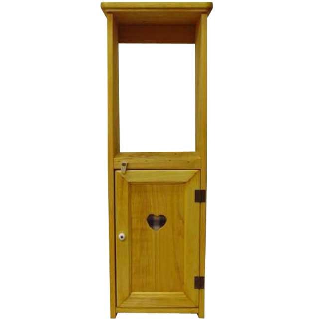 スリムキャビネット カントリーハート 青 ナチュラル w20d15h63cm 木製 ヒノキ オーダーメイド