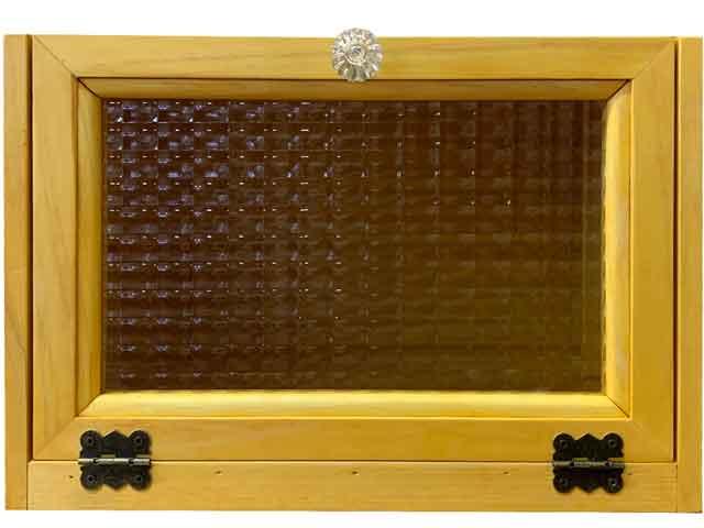 ブレッドケース チェッカーガラス 真鍮丁番 ナチュラル 30x23x21cm パンプキンノブ 木製 ひのき ハンドメイド オーダーメイド