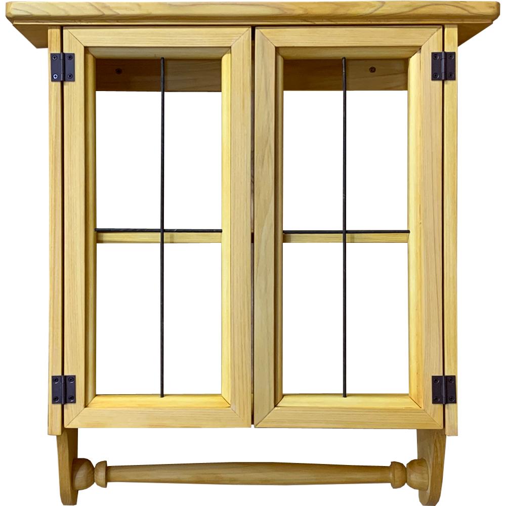 キャビネットシェルフ アイアン タオルハンガー付き ナチュラル 45×14×47cm 木製 ひのき ハンドメイド オーダーメイド